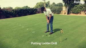 Golf putting ladder drill